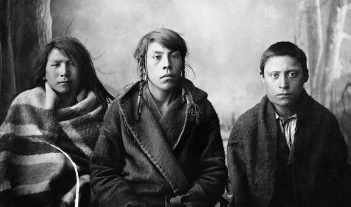 Alex Ross Three young Blackfoot men, Calgary, Alberta 1887..jpg