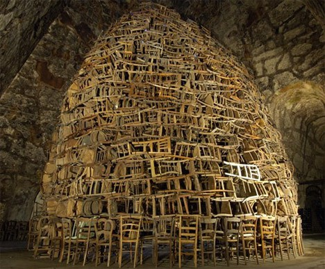 Tadashi Kawamata found art from upcycled chairs.jpg