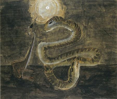Morris Grave, bird, snake & moon 1940.jpg