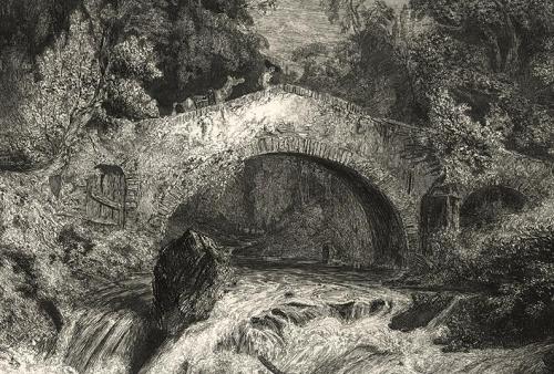 Paul Huet gravure eau forte salmon colporteur et son ane un pont en auvergne 1834 .jpg