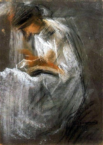 Young Woman Reading - Umberto Boccioni , 1909n.jpg