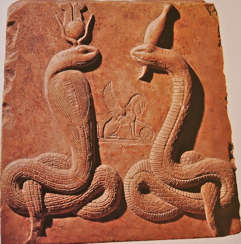 Isis as Agathe Tyche and Osiris as Agathos Daimon in serpent form.jpg