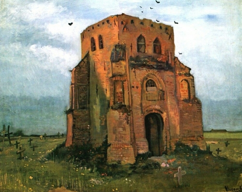 Vincent van Gogh  Country Churchyard and Old Church Tower, 1885.jpg