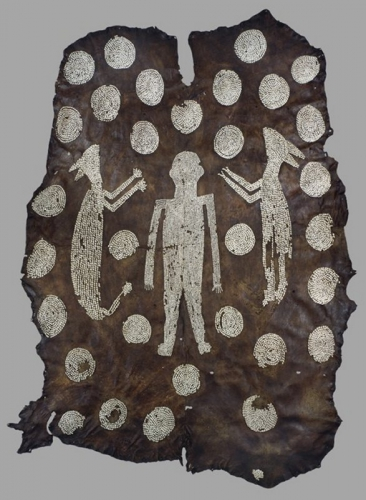 culture Algonquian , Virginia  Powhatan's Mantle  before 1638   Deer hide, marginella shells.jpg