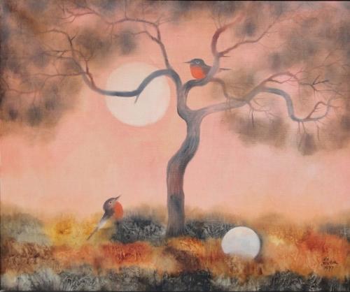Ota Janeček - Růžové ráno, ptáci, Slunce a vejce.jpg