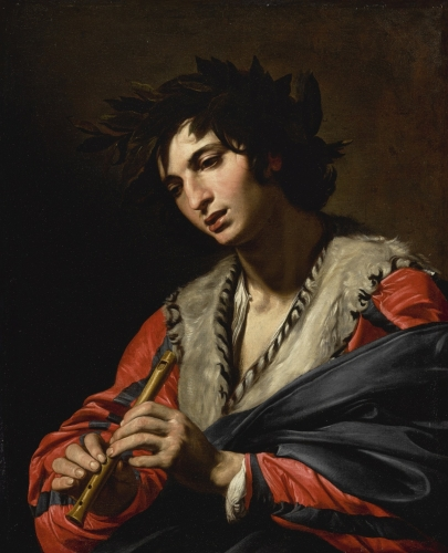 Valentin de Boulogne A Young Shepherd Wearing a Crown Of Laurel Leaves Holding a Flute. 17th.century. attributed to .jpg