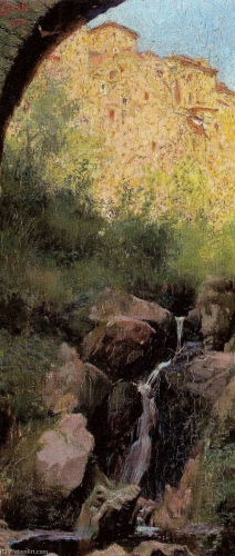 Edward Okuń-Landscape-with-a-Waterfall-and-Castle 1900.jpg
