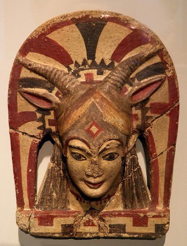 Horned Women XIII Etruscan goat-horned goddess, possibly representing Uni, the forerunner of Juno. Among the many aspects of Roman Juno is the powerful goat-horned Juno Sospita or Juno Caprotina..jpg