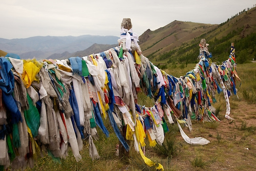 Justin Jin Tuva-Prayer flags wave in the wind on a road to Kyzyl, capital of Tuva Republic, southern Siberia, Russia.jpg