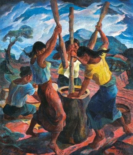 VICENTE SILVA MANANSALA Pounding rice philippines 1949).jpg