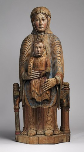 Virgin and Child in Majesty, 1150–1200 French; Made in Auvergne Walnut with paint, gesso, and linen.jpg