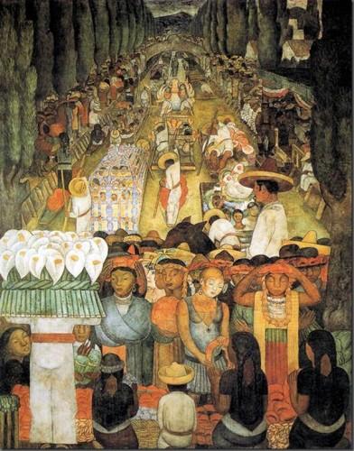 diego rivera Viernes de dolores en el canal de Santa Anita. 1923-4. Fresco. 4.56 x 3.56 m. Ministerio de Educación. México DF. México..jpg