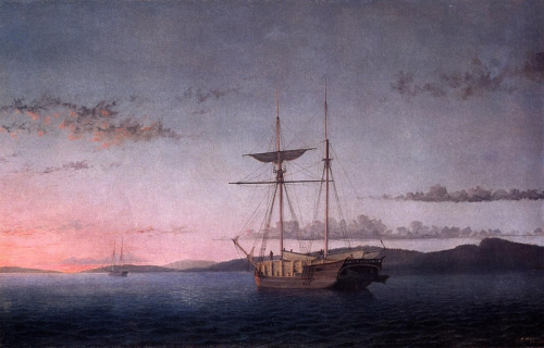 Fitz Henry Lane - Lumber Schooners at Evening on Penobscot Bay, 1860.jpg