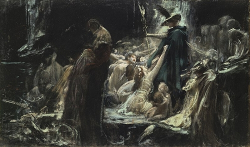 Adolf Hirémy-Hirschl, The Souls of Acheron (1898) étude.jpg