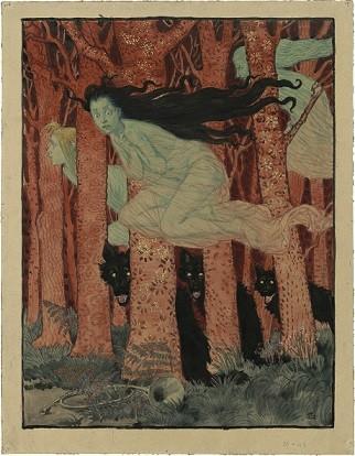 Eugène Samuel Grasset (1845-1917), Trois Femmes et trois loups, vers 1892.jpg