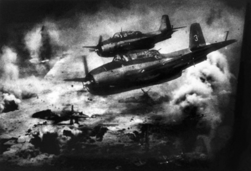 William Eugène Smith WORLD WAR II. The Pacific Campaign. June 1944. Battle of Saipan Island. US Avenger fighter bombers moving towards the Saipan Island, to attack the Japanese.n.jpg