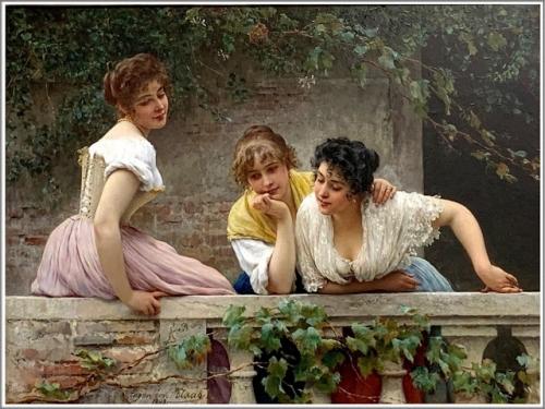 Eugen de Blaas (1843-1932), Sur le Balcon - 1893 .jpg