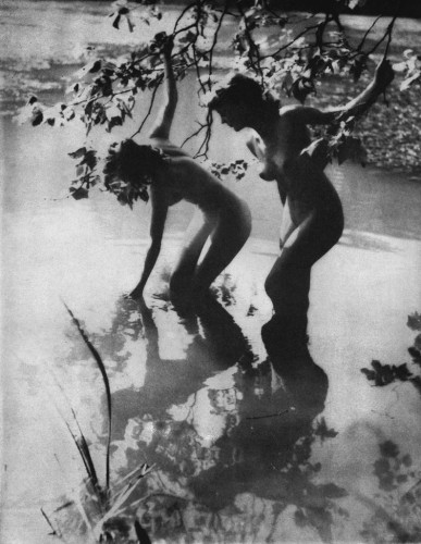 Yvonne Gregory Girls Wading, with sunlight playing on leaves and water, 1948.jpg