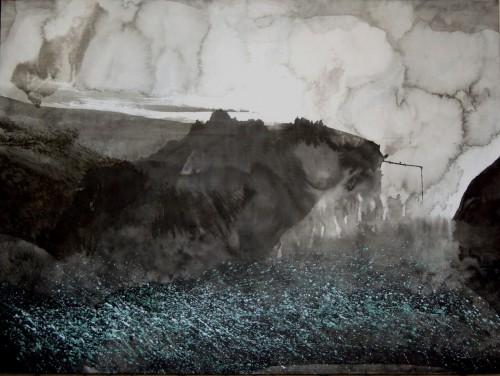 Zhou Gang Vent printanier-  2006 Encre sur papier maroufl- sur toile- 97 x 130cm-4.jpg