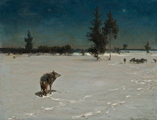 Alfred Wierusz-Kowalski. Wolves at Night 1890-1900.jpg