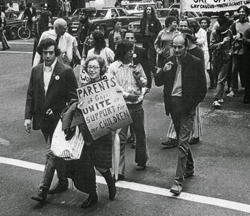 Jeanne Manford marches with her gay son during a Pride Parade, 1972. Jeanne went on to found the rights group Parents, Families and Friends of Lesbians and Gays).jpg