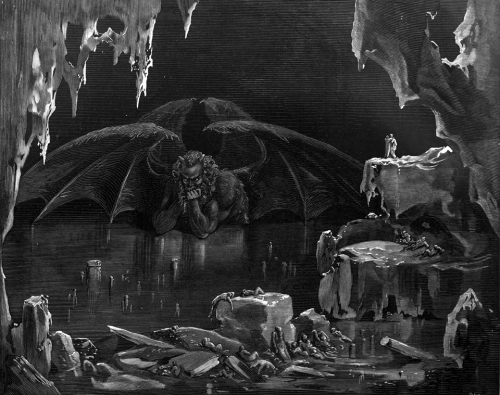 Gustave Doré 1861 Dante's Inferno, Canto 34 Lucifer, King of Hell, frozen in the ice.jpg