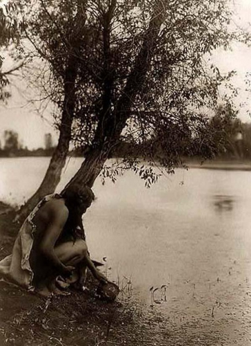 Edward S. Curtis Hidatsa Indian by a stream 1908.jpg
