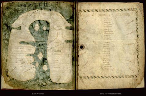 La mappa mundi  d'Albi l'un des exemplaires les plus anciens de représentation du monde en Occident VIIIe siècle, Septimanie wisigothique ou en Espagne.jpg