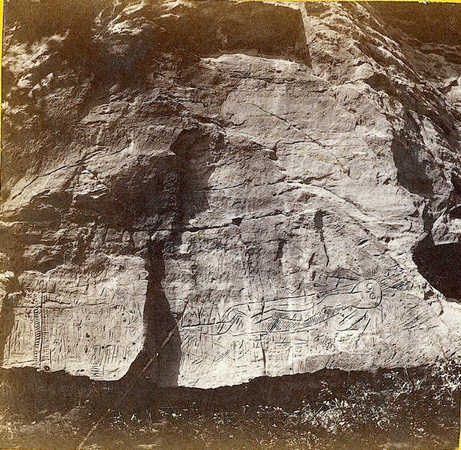 Alexander Gardner Inscription Rock at Indian Cave on Mulberry Creek, Kansas. 11 miles north east of Fort Harker and 494 miles west of St. Louis, Mo. 1867 .jpg