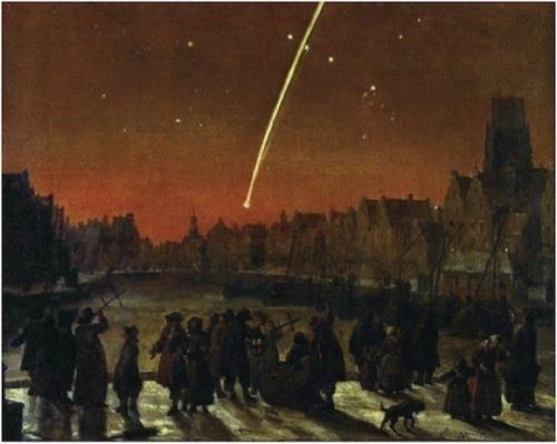 Lieve Verschuier au dessus de Roterdam la Grande Comète de 1680, la comète de Kirch.jpg